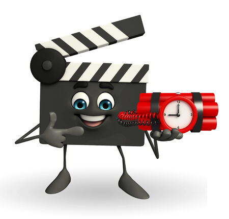 Cartoon Character of Clapper Board with time bomb photo