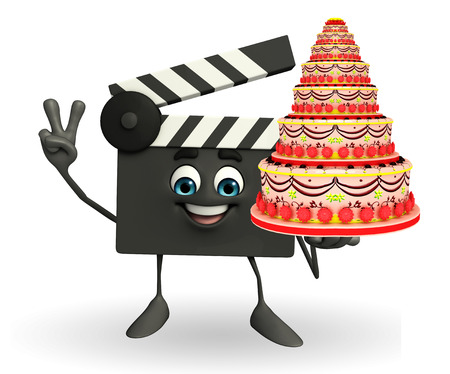 Cartoon Character of Clapper Board with cake photo