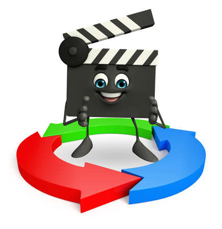 Cartoon Character of Clapper Board with arrow  photo