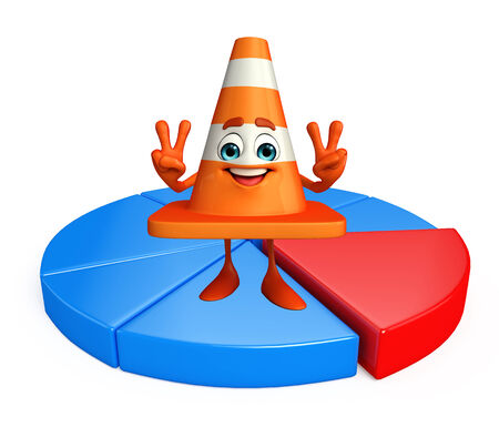 road works ahead: Cartoon Character of Construction cone with circular graph