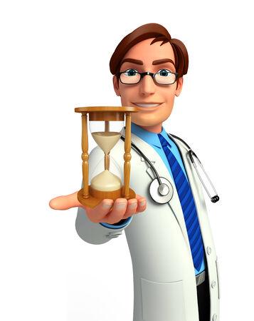sand clock: Illustrazione di giovane medico con l'orologio della sabbia