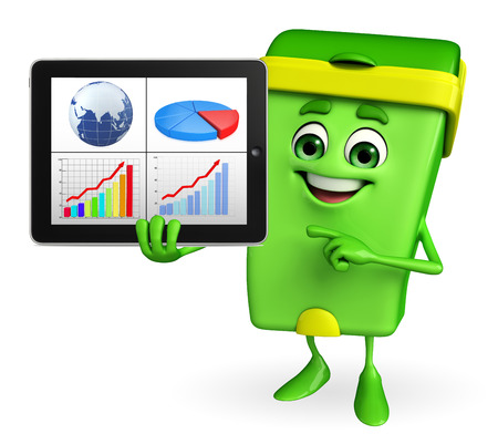 keep clean: Cartoon Character of Dustbin with business graph