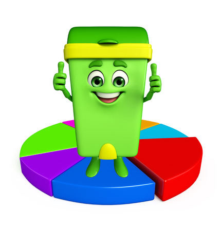 Cartoon Character of Dustbin with circular business graph photo