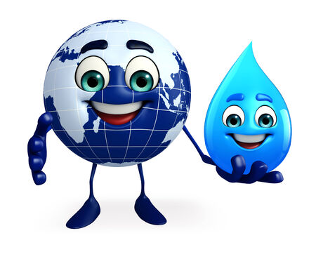 Cartoon Character of Earth with water drop photo
