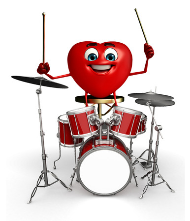 Cartoon Character of heart shape with drumset