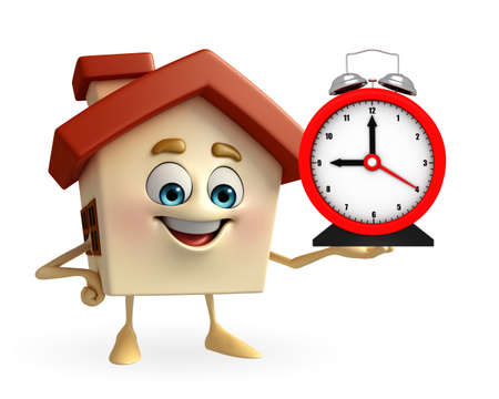 Cartoon Charcter of house with table clock photo