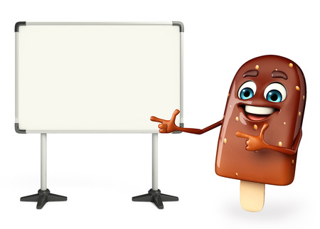 flavored: Cartoon Character of Candy with display board Stock Photo