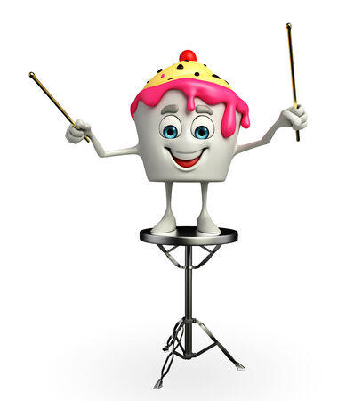 steel drum: Cartoon Character of Ice Cream with pointing