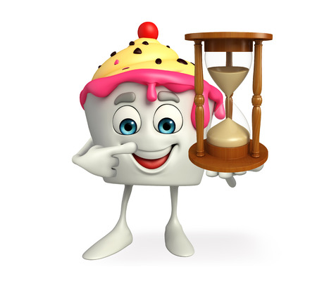 Cartoon Character of Ice Cream with sand clock Imagens