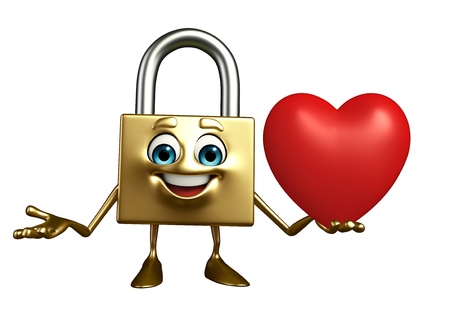 Cartoon Character of lock with red heart photo