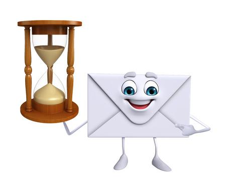sand clock: Personaggio dei cartoni animati di posta elettronica con l'orologio della sabbia