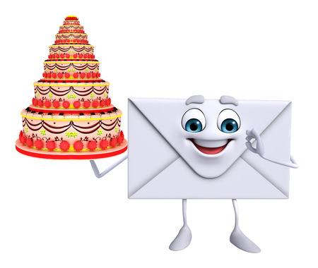 Cartoon Character of mail with cake photo