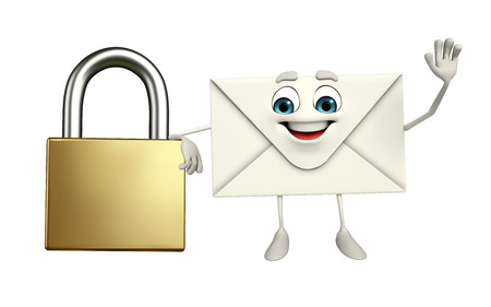 guard box: Cartoon Character of mail with lock