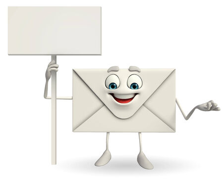 Cartoon Character of mail with sign photo