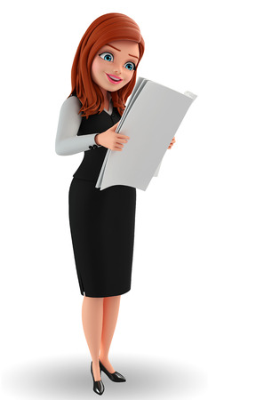 Illustration of young Business Woman is reading