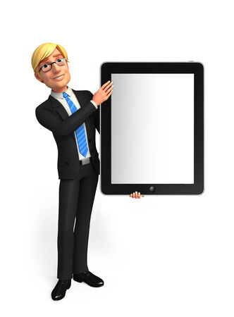 welcoming: Illustration of Young Business Man with teb Stock Photo