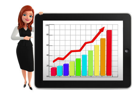 achivement: Illustration of young Business Woman with business graph