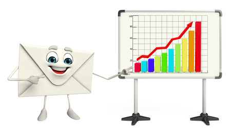 Cartoon Character of mail with business graph photo