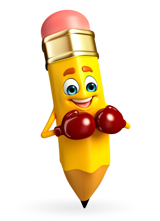 Cartoon Character of pencil with Boxing Gloves photo