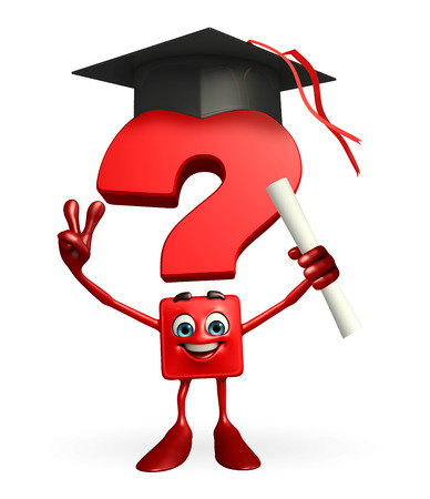 Cartoon Character of Question Mark with graduate Hat photo