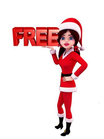profit celebration: Illustration of santa girl with free sign