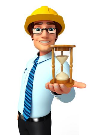 sand clock: Illustration of service man with sand clock