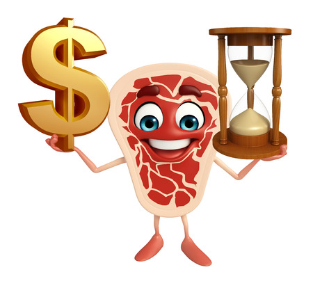 sand dollar: Cartoon Character of meat steak with dollar sign & sand clock