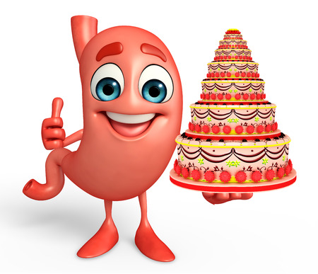 Cartoon Character of stomach with cake  Stock Photo
