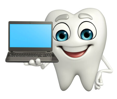 Cartoon character of teeth with Laptop photo