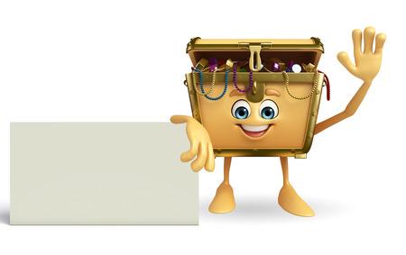 treasury: Cartoon Character of Treasure box with sign
