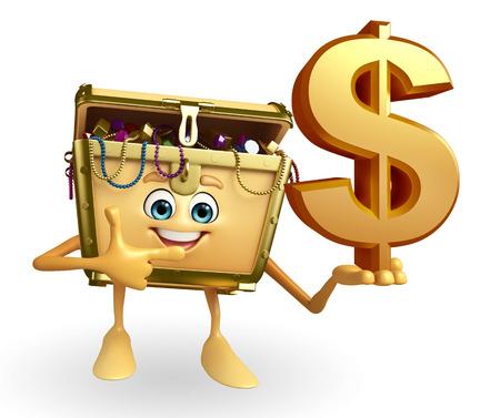 treasury: Cartoon Character of Treasure box with dollar sign