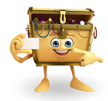 thesaurus: Cartoon Character of Treasure box with visiting