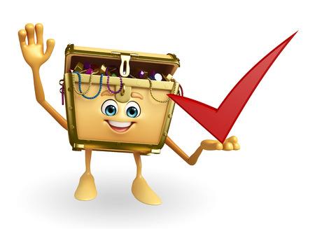 Cartoon Character of Treasure box with right sign photo