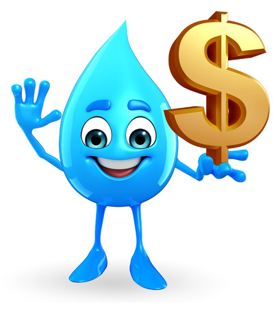 cooled: Cartoon Character Of Water Drop with dollar sign