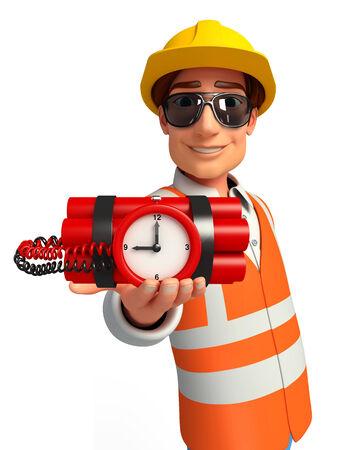 llave de sol: Ilustración del trabajador joven con bomba de tiempo Foto de archivo
