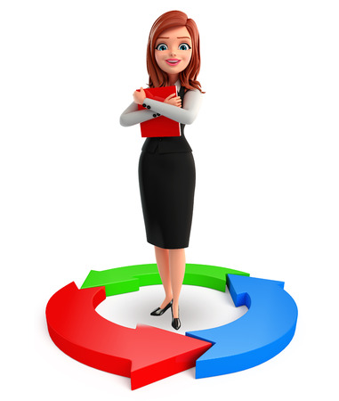 Illustration of young Business Woman with arrow illustration