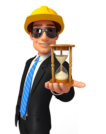 Illustration of Young Business Man with sand clock illustration