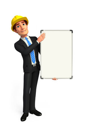 welcoming: Illustration of Young Business Man with display board