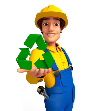 Illustration of young mechanic with recycle icon illustration