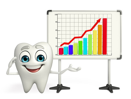 Cartoon character of teeth with business graph Banco de Imagens