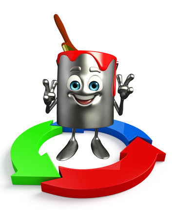 Cartoon Character of paint bucket with Arrow photo