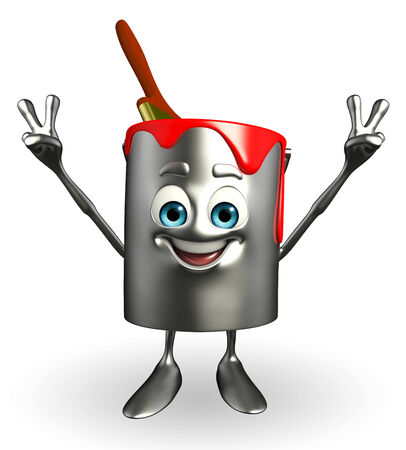 Cartoon Character of paint bucket is Victory pose photo