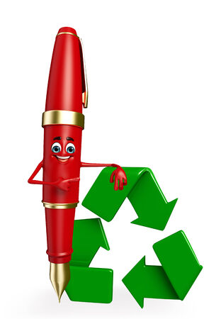 Cartoon Chatacter of Pen with recycle icon photo