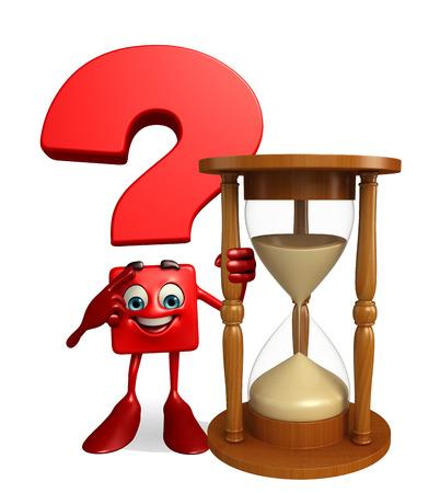 sand clock: Personaggio dei cartoni animati di punto interrogativo con l'orologio della sabbia