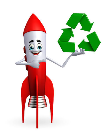 Cartoon character of rocket recycle icon photo