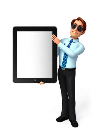 service man: Illustration of service man with tab Stock Photo