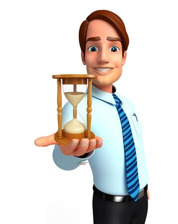 sand clock: Illustrazione di servizio uomo con l'orologio della sabbia