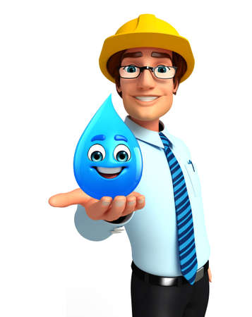 welcoming: Illustration of service man with water drop