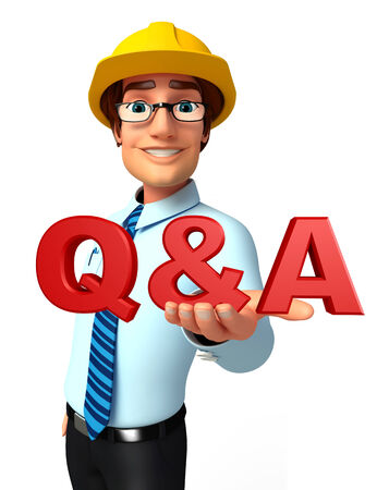 Illustration of service man with Q & A illustration