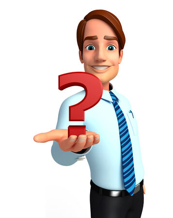 welcoming: Illustration of service man with question mark Stock Photo